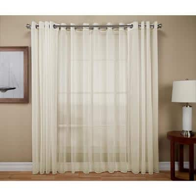 Ivory Solid Extra Wide Grommet Sheer Curtain - 108 in. W x 63 in. L