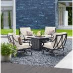 Highland Point Black Pewter 5-Piece Aluminum Outdoor Patio Fire Pit Set with CushionGuard Almond Tan Cushions