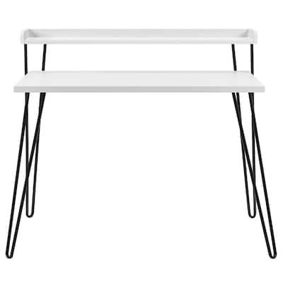 44.7 in. Rectangular White Writing Desks with Storage