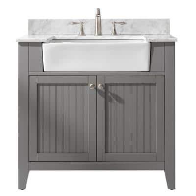 Burbank 36 in. W x 22 in. D Bath Vanity in Gray with Carrara Marble Vanity Top in White with White Basin