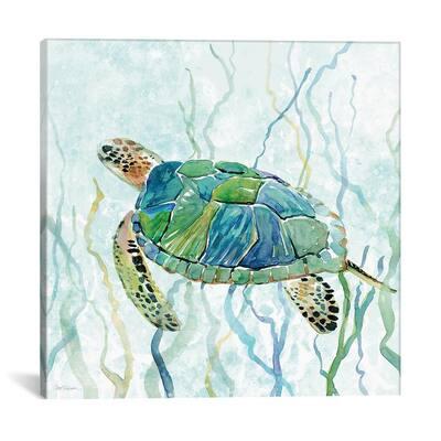"""""""Sea Turtle Swim II"""" by Carol Robinson Canvas Wall Art"""