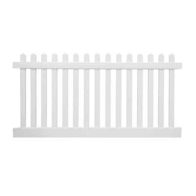 Plymouth 4 ft. H x 124 ft. L White Vinyl Complete Privacy Fence Project Pack with a 4 ft. W Gate and Sika Post Mix