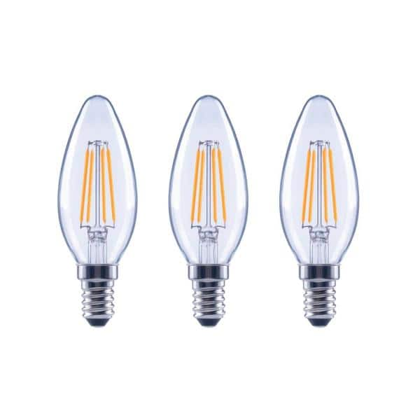 Ecosmart 40 Watt Equivalent B11 Candle Dimmable Clear Glass Filament Vintage Led Light Bulb Daylight 3 Pack Fg 03130 The Home Depot