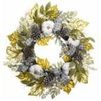 30 in. Harvest Mixed Leaves and Ribbons Wreath