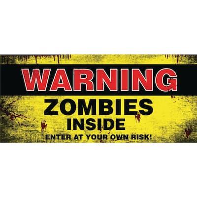 7 ft. x 16 ft. Zombies Inside Halloween Garage Door Decor Mural for Double Car Garage Car Garage