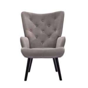 Gray Velvet Wingback Accent Chair with Wooden Legs