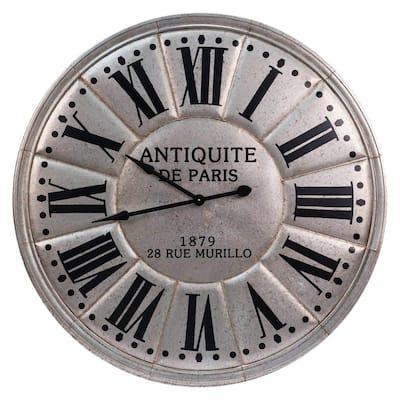 Silver Metal Wall Clock