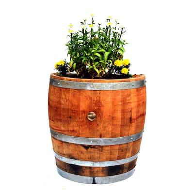 Tall 26 in. W x 13 in. D x 27 in. H Quarter Oak Wine Barrel Planter