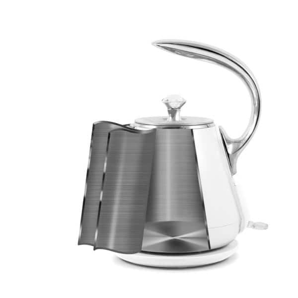 Elite Gourmet Gourmet 1 2 L White Cool Touch Stainless Steel Electric Kettle Ekt 1203w The Home Depot