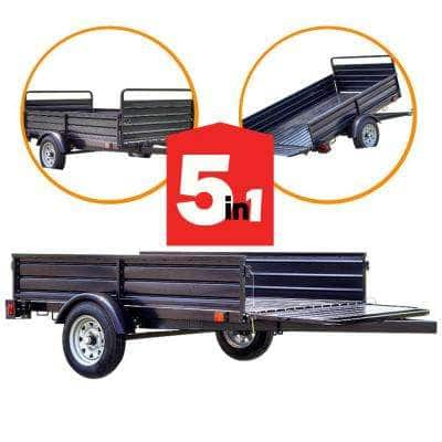 1639 lb. Payload Capacity 4.5 ft. x 7.5 ft. Utility Trailer Kit with Bed Tilt and Collapsing Ends to Extend Bed to 12 ft
