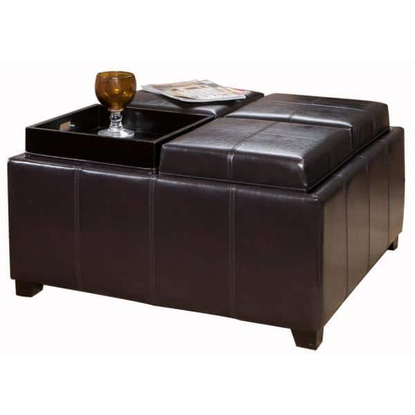 Noble House Dartmouth Espresso Brown Bonded Leather Tray Top Storage Ottoman | The Home Depot