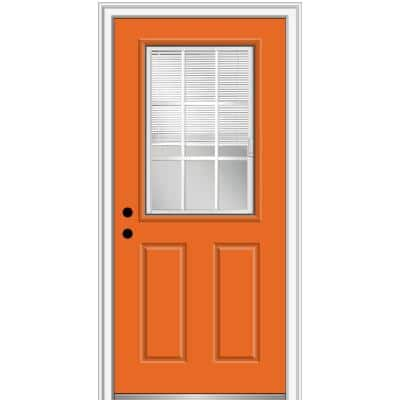 32 in. x 80 in. Internal Blinds/Grilles Right-Hand Inswing Clear 1/2 Lite Painted Fiberglass Smooth Prehung Front Door