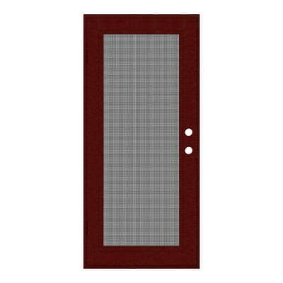 32 in. x 80 in. Full View Wineberry Right-Hand Surface Mount Security Door with Meshtec Screen