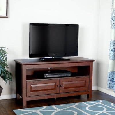 Cortez 44 in. Traditional Brown Wood TV Stand 48 in. with Doors
