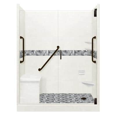 Newport Freedom Grand Hinged 32 in. x 60 in. x 80 in. Right Drain Alcove Shower Kit in Natural Buff and Black Pipe