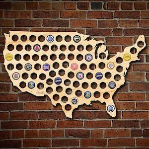24 in. x 15 in. Wooden USA Beer Cap Map