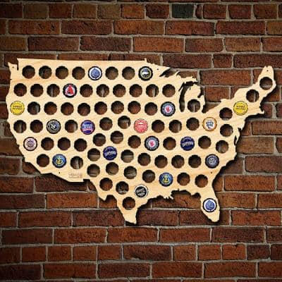 24 in. x 15 in. Wooden USA Beer Cap Map