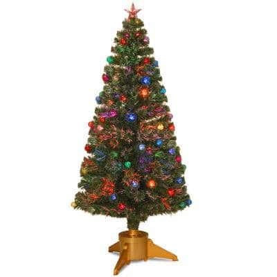 6 ft. Fiber Optic Fireworks Artificial Christmas Tree with Ball Ornaments