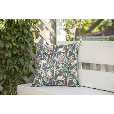 Gray Crane Square Outdoor Throw Pillow (2-Pack)