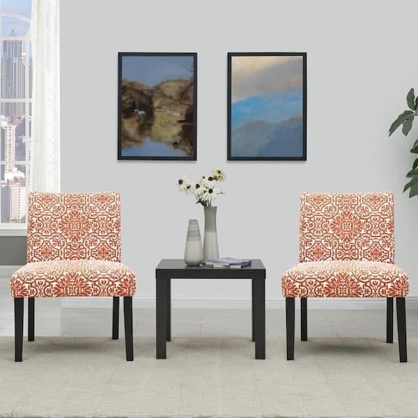Handy Living Nate Burnt Orange Damask, Side Chairs For Living Room