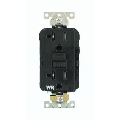 20 Amp SmartlockPro Industrial Grade Heavy Duty Weather/Tamper Resistant GFCI Outlet, Black