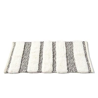 20 in. x 30 in. Black Geo Cotton Bath Rug