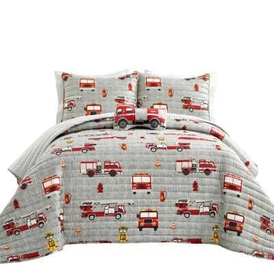 Make A Wish Fire Truck Polyester Quilt Red/Gray 4-Piece Set Full/Queen