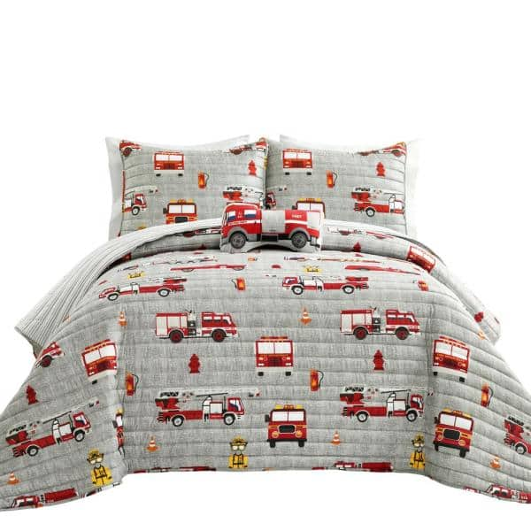 Lush Decor 3 Piece Red Gray Twin, Twin Fire Truck Bedding
