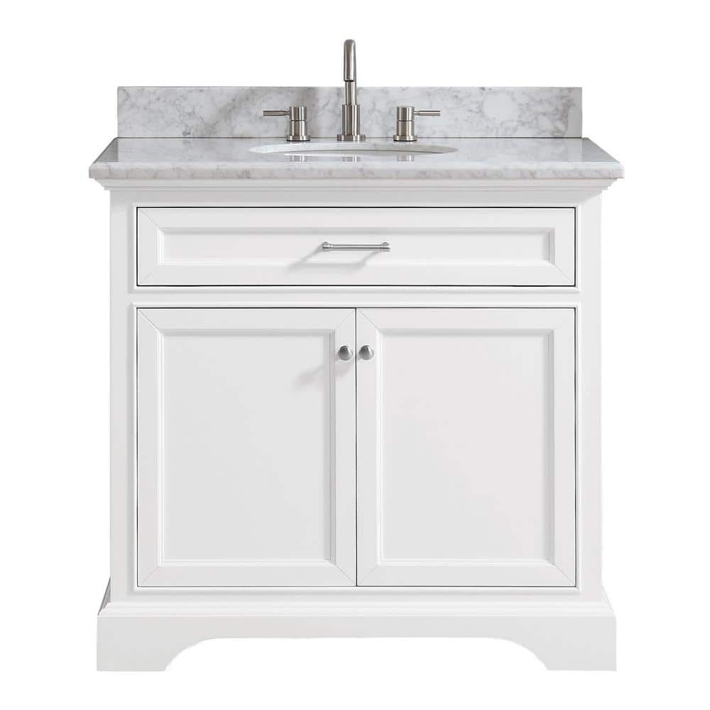 Home Decorators Collection Windlowe 37 In W X 22 In D X 35 In H Bath Vanity In White With Carrera Marble Vanity Top In White With White Sink 15101 Vs37c Wt The Home Depot