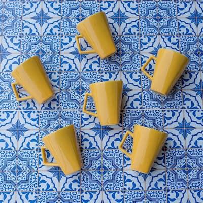 Quartier 11.84 oz. Yellow Square Beveled Earthenware Mugs (Set of 12)