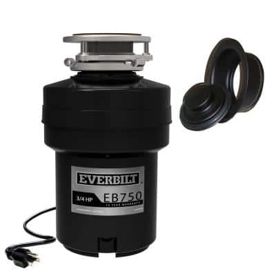 Designer Series 3/4 HP Continuous Feed Garbage Disposal with Black Sink Flange and Attached Power Cord