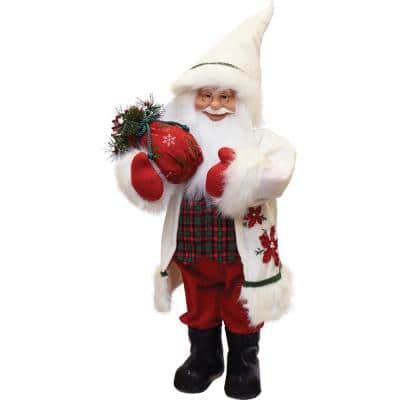 25 in. Santa in Winter Flannel with Sack of Pine Christmas Figure Table Top Decoration