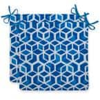 Cubed Blue Square Outdoor Seat Cushion (2-Pack)