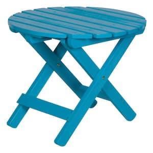 19.5 in. Tall Aqua Blue HYDRO-TEX Finish Round Cedar Wood Adirondack Outdoor Folding Side Table