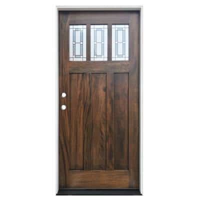 36 in. x 80 in. Espresso Right-Hand Inswing 3-Lite Triple Pane Decorative Glass Stained Mahogany Prehung Front Door