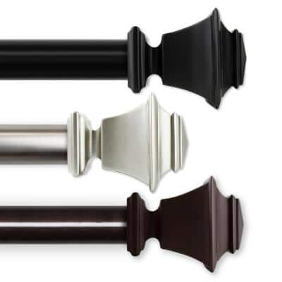 Bach 115 in. - 165 in. Single Curtain Rod in Cocoa with Finial