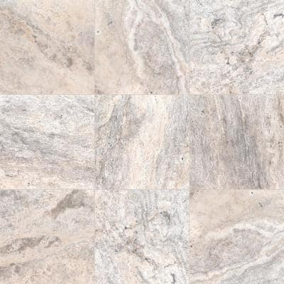 16 in. x 16 in. Square Silver Tumbled Travertine Paver Tile (1.78 sq. ft.)