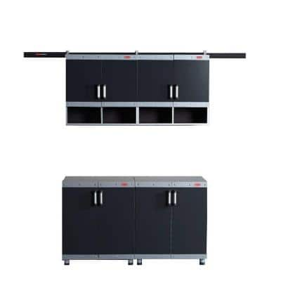 FastTrack Garage Laminate Cabinet Set in Black/Silver (4-Piece)