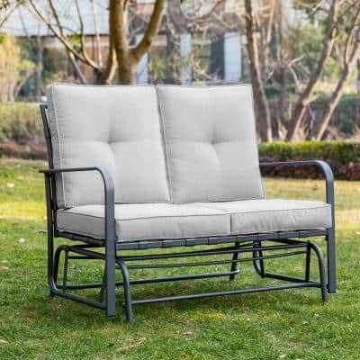 Metal Outdoor Patio Loveseat Glider Chair in Gray Cushion