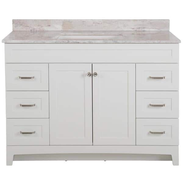 Home Decorators Collection Thornbriar 49 In W X 39 In H Bathroom Vanity In White With Stone Effects Vanity Top In Winter Mist With White Sink Tb48p2v6 Wh The Home Depot