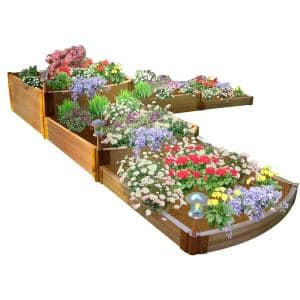 Two Inch Series 12 ft. x 12 ft. x 22 in. Split Waterfall Classic Sienna Composite Raised Garden Bed Kit