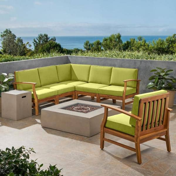 Noble House Illona 8 Piece Teak Wood Patio Fire Pit Conversation Set In Brown With Green Cushions 53228 The Home Depot