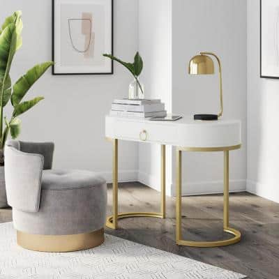 Leighton 42 in. Oval White Wood 1 Drawer Writing Desk or Vanity with Gold Accent