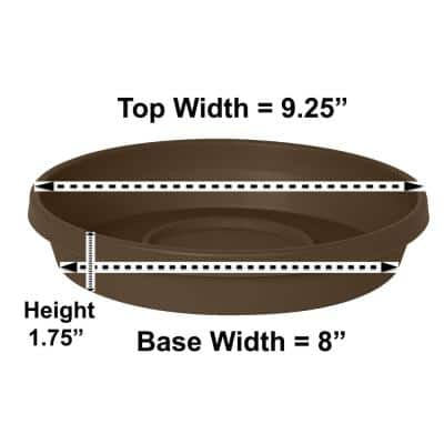 Terra 9.25 in. Chocolate Plastic Plant Saucer Tray