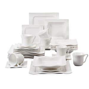 Mario 30-Piece Modern Ivory White Porcelain Dinnerware Set (Service for 6)