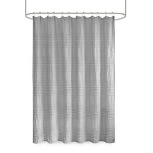 Eider Grey 72 in. Super Waffle Textured Solid Shower Curtain