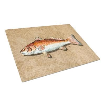 Red Fish Tempered Glass Large Cutting Board