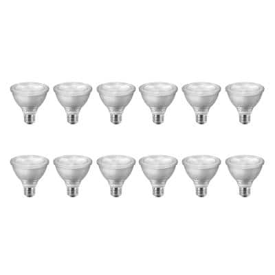 75-Watt Equivalent PAR30S Dimmable LED Flood Light Bulb with Warm Glow Dimming Effect Bright White (3000K) (12-Pack)