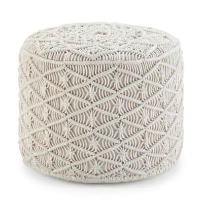 Coates Contemporary Round Macrame Pouf in Natural Cotton