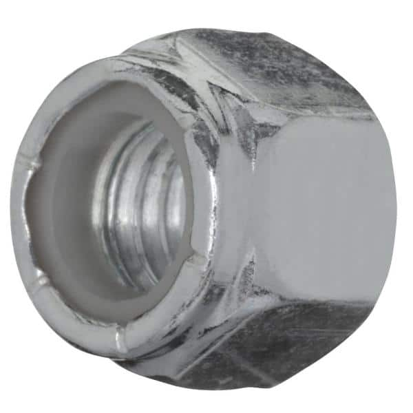 Everbilt 3 8 In 16 Zinc Plated Nylon Lock Nut 10 Pack 802632 The Home Depot